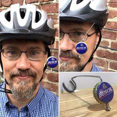 Mountain Biking Discover Beer View Mirror (Macrobrews): Bicycling mirror made with Bottle Cap Spoke & Acrylic Mirror Bicycle Helmet, Bike Helmets, Natty Boh, Third Shift, Rowing Crew, American Beer, Pabst Blue Ribbon, Acrylic Mirror, Commuter Bike