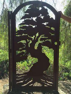Custom Made Bonsai Tree Gate Metal Art Pedestrian Walk Thru Entry Wrought Iron Steel Garden