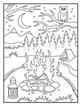 camp fire coloring page - Camping Coloring Pages