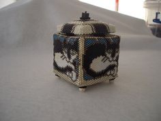 Tuxedo Cat Hand Stitched Square Beaded Box by AcadianGlassArt