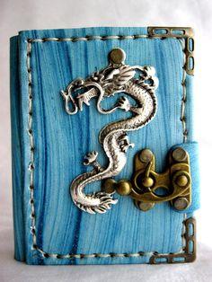 Mini Handmade blank leather journal notebook with steampunk Dragon emblem