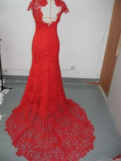 Custom handmade red high neck lace backless long by gooddress