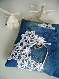Kissenhüllen blumen nähen Jeans kissenbezüge klamotten