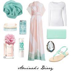 http://aminahshijabdiary.wordpress.com/ #hijab #muslimah #style #fashion #ootd #outfit #look #kimono #dress #mint #pink #combination