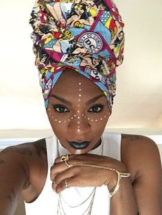 Marked with perfection. Turbans, Headscarves, My Black Is Beautiful, Pretty Black, African Beauty, African Fashion, Tribal Makeup, Different Shades Of Black, African Head Wraps
