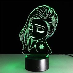 night Lamp Visual Light Effect Touch Switch & Remote Control Colors Changes Night Light - Optimum Trading 3d Optical Illusions, Art Optical, Led Lights For Trucks, Woman Face, Lady Face, Mood Lamps, Led Night Light, Night Lights, Night Lamps