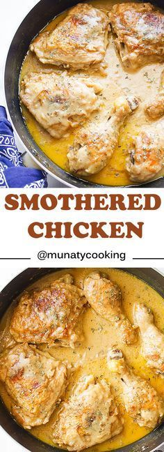 You will love this smothered chicken recipe. In this post, I will teach you how to clean the chicken and how to make Southern style smothered chicken in easy steps. The gravy is silky smooth yet rich and full of flavor and the chicken w Asian Recipes, Mexican Food Recipes, Crockpot Recipes, Cooking Recipes, Cooking Food, Soul Food Recipes, Food Food, Meat Food, Soul Food Meals