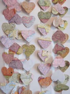 vintage map heart garland.