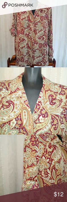 Vintage Impressions long sleeve top Long sleeve top, or can be rolled up to where 3/4 sleeves, size large, lightly loved, colors with cranberry, robin's egg blue, and orange, paisley design impressions Tops
