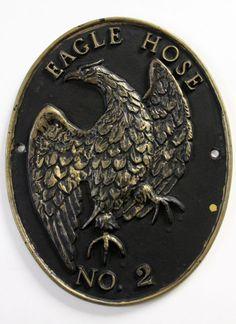 Vtg Eagle Hose No 2 Fire Dept Oval Cast Metal Marker Wall Plaque Sign Insurance