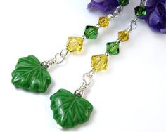 #Green and #Yellow #Earrings with Czech Leaf Beads, Swarovski Fern & Sunflower #Crystals, Sterling Silver by #PrettyGonzo #Handmade #Jewelry
