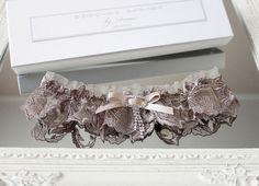 gray lace wedding garter with rhinestones charm - Handmade_by_Donna - Podwiązki