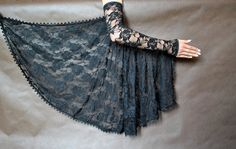 Elegant GOTHIC VAMPIRE costume Victorian Evening Glamour lace long GLOVES with mistic flounce, frill, black, lace fingerless mittens Gothic Vampire Costume, Vampire Dress, Vampire Costumes, Sleeves Designs For Dresses, Sleeve Designs, Elegant Gloves, Lace Tape, Long Gloves, Ancient Architecture