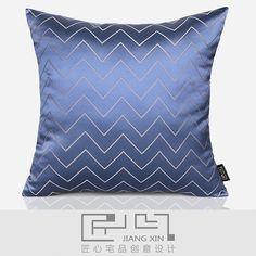 匠心宅品法式/中式样板房软装靠包抱枕水蓝波纹提花方枕(不含芯