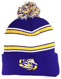 ed445193e23 LSU TIGERS LOUISIANA STATE UNIVERSITY STRIPED POM BEANIE KNIT WINTER HAT CAP  NWT S-VarietyStore