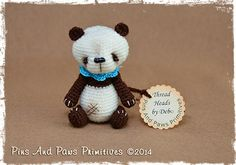 "OOAK Miniature Crochet Primitive Thread Artist Panda Bear  ~ Thread Head©  His name is ""Brownie"""