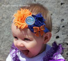 Florida Gator Blue & Orange Headband-Baby Headband-Toddler Headband-Elastic Headband $8.50