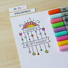 Another happy birthday! Happy Birthday Drawings, Birthday Doodle, Birthday Card Drawing, Happy Birthday Cards, Doodle Drawings, Doodle Art, Doodle Techniques, Drawing Journal, Envelope Art