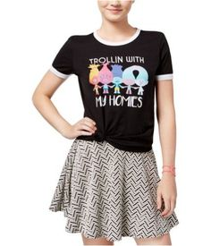 2cbae2b3 Dreamworks Womens Trollin' With My Homies Graphic T-Shirt trueblackwhite M