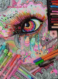 Colorful Eye A/4 Zselés toll tűfilc, pasztell, vízfesték MNikodem Art