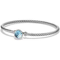 David Yurman Chatelaine Bracelet with Blue Topaz ($325) ❤ liked on Polyvore featuring jewelry, bracelets, bracelet bangle, david yurman bangle, hook bracelet, bracelet jewelry and wide bracelet