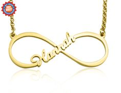 Belle Fever - Single Infinity Name Necklace - Gold #custom #customised #personlized #jewellery #shop #shopping #onlineshopping #fashion #love #beauty #swag #family #gift #gold #silver