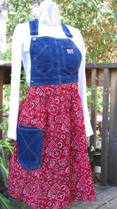 Country apron from overalls. Cute and practical.