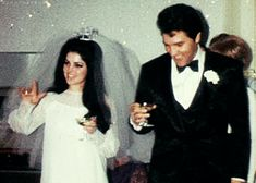 Elvis and Priscilla at their 2nd Wedding Reception at Graceland May 29, 1967