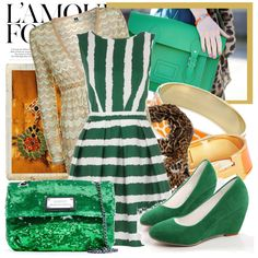 BlogFrog Uniform: We need more green stripes and glittery purses in the office. Someone tell @RustinB!