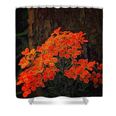 Orange Flowers Painted shower curtain. Also available as prints, posters, phone cases, pillows, tote bags, beach towels, coffee mugs, shower curtains, spiral notebooks, fleece blankets, yoga mats, and on T-shirts.