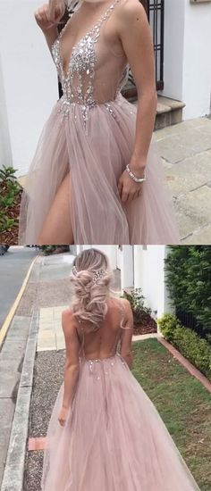 Sexy Beaded Open Back Tulle Split Long Evening Prom Dresses, PM0799 #promdress #promdresses