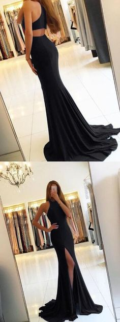 Black Prom Dress,mermaid prom dresses ,Long Prom Dress,Backless Prom Dress,2018 sexy leg slit evening gowns