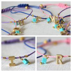 Tiny Gold Letter Friendship Bracelet with 14k by lizaslittlethings, $14.00