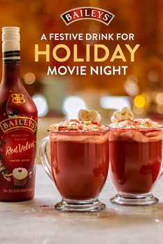 It's that time of year when we cozy up with our favorite holiday movies. Mix up a drink to match the mood: a Baileys Red Velvet Hot Chocolate.  Dessert Drinks, Party Drinks, Cocktail Drinks, Fun Drinks, Yummy Drinks, Alcoholic Drinks, Beverages, Desserts, Mixed Drinks
