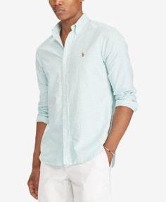 Polo Ralph Lauren Men's Classic-Fit Oxford Shirt - Bayside Green/White XXL