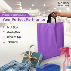 Add cheer and sunshine to your customer's shopping experience with Purple Color Retail Carry Bags. Ideal for storing retail products, gift articles, apparels and more items. Order now! Shopping Malls, Shopping Bag, Packing Supplies, Carry On Bag, Gift Packaging, Online Bags, Fashion Boutique, Cheer, Sunshine