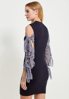 Платье LOST INK выполнено из смесового трикотажа в сочетании с тонким полупрозрачным текстилем. М...