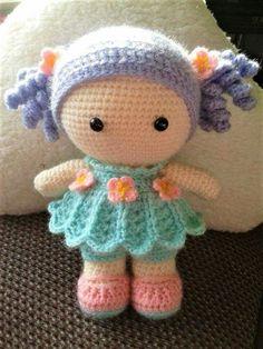 crochet tutorial for doll ♥ Crochet Dolls Free Patterns, Free Crochet Bag, Crochet Doll Pattern, Amigurumi Patterns, Doll Patterns, Kawaii Crochet, Cute Crochet, Crochet For Kids, Crochet Doll Clothes