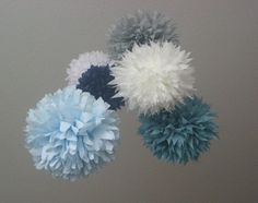 Nautical ... tissue paper pom mobile // nursery decoration // housewarming gift // baby shower // gender reveal party. $40.00, via Etsy.