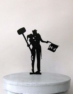 Personalized Wedding Cake Topper - Joker and Harley Quinn with personalized Initials