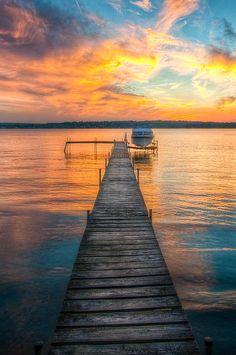 A beautiful sunset on Chautauqua Lake in New York.