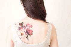 Magnolia Flower Temporary Tattoo Extra Large tattoo   by pepperink