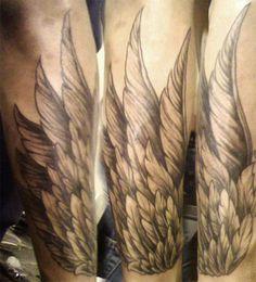 Grey Ink Wings Tattoos On Sleeve