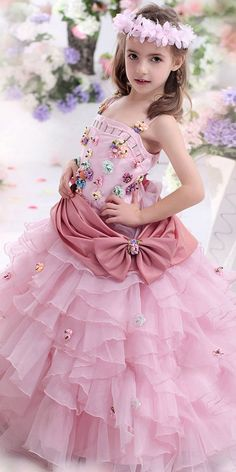 90a0be70d234 [69.99] Amazing Ball Gown Organza & Satin Spaghetti Straps Neckline Flower  Girl Dresses with Beadings