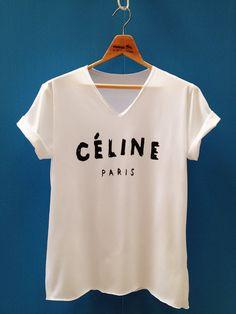 Tshirt CELINE Tshirt white Tshirt women Tshirt by Easytshirt, $15.99