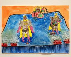 "Ink and watercolour illustration ""Song of the Bat"" by Raj Panda (2016)"