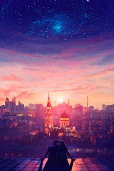 Фото Влюбленная пара сидит на крыше на фоне заката над городом (© zmeiy), добавлено: 08.06.2014 09:04