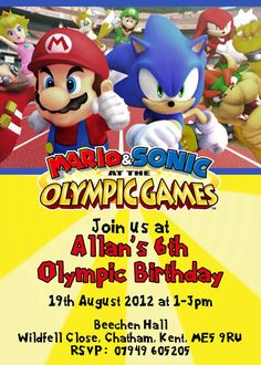 SONIC THE HEDGEHOG Printable Invitation with photo SONIC