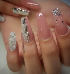 Check these out acrylic nails unghii uñas de gel, uñas nude ș Fall Nail Designs, Cute Nail Designs, Acrylic Nail Designs, Silver Nail Designs, Cute Acrylic Nails, Cute Nails, Pretty Nails, Fabulous Nails, Gorgeous Nails