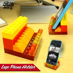 Need a phone stand for your desk but don't want to spend your $$? Make this simple one out of legos!